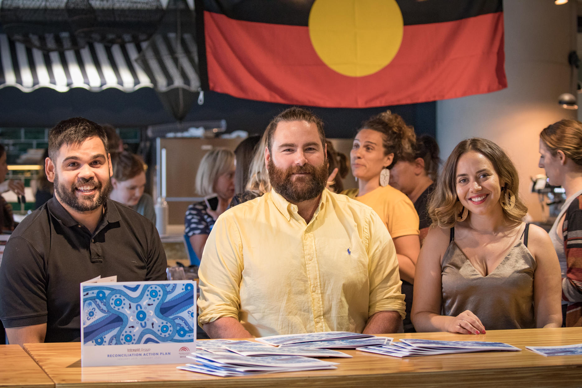 Leigh Barnes with Robert Young, the Koori artist who created our office mural (left) and Jirra Harvey, Founder of Kalinya Communications (right)